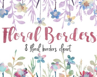 Floral borders clipart, borders clipart, floral clipart, invitations clipart, blog header, wedding clipart, watercolor clipart, borders