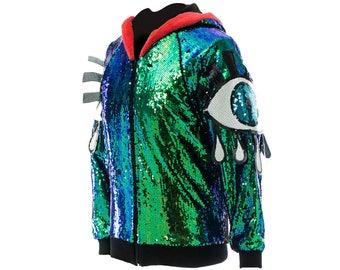 Iridescent sequinned mermaid festival eye jacket
