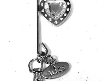 Key Hook / Key Chain / Purse Accessory / Key Hook Finder / Purse Hook / Purse Bling / Silver Heart Shaped Jewel