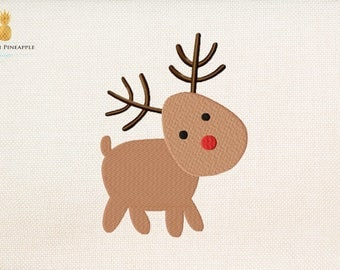 Little sweet Rudolph - christmas embroidery - reindeer embroidery - 6 sizes - Instant Download Machine embroidery design