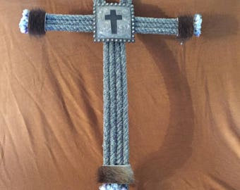 Western Style Rope Cross With Suede Concho and Hide Trim