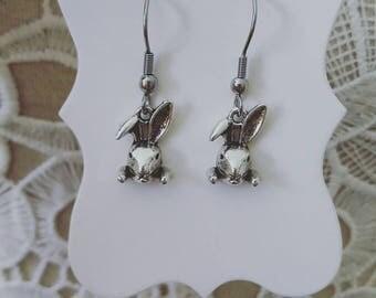 Mr rabbit drop earrings, Alice in Wonderland