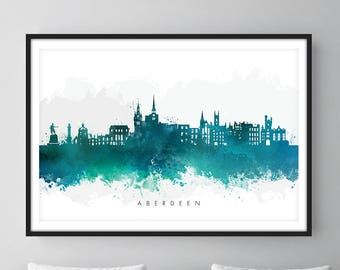 Aberdeen Skyline, Aberdeen Scotland Cityscape Art Print, Wall Art, Watercolor, Watercolour Art Decor [SWABZ07]