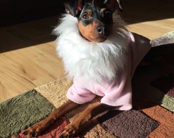 Pink - faux fur poncho