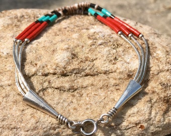 Native Turquoise, Red Coral and Sea Shell Sterling Silver Beaded Bracelet, Native Jewelry, Native Bracelet, Sterling Silver Jewelry