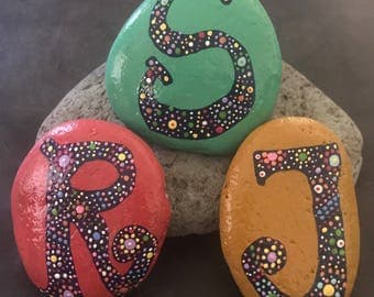 Monogrammed Mandala/Mosaic Painted Rock, Paperweight, Art, Collectible, Home Decor & Gift @MoonRocksArt