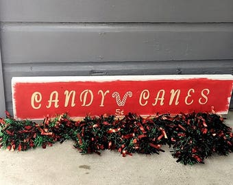 Candy Canes Christmas Decor Wood Sign 7 1/2 x 38 Holiday Decor Xmas Decor Home Kitchen Decor Living Decor Mantle Red & White Acrylic Paint