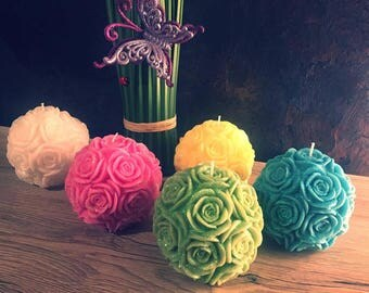 Set of 5 Candles / Set of Rose Pillar Candles  / 5 Pieces - Each Candle 3,5 Inches