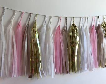Fully Assembled Tassel Garland,Tissue Tassel banner, Fringe Banner, Paper Bunting, Pink,Cream,Champ,Blush, Gold