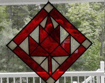 Red maple leaf stained glass square