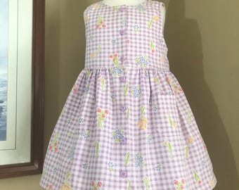 Vintage Gymboree  Gingham Checked  Floral Print dress