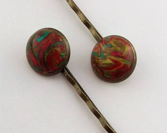 HP-001 Polymer clay bobby pin set of 2 – Kimberlee Abstract