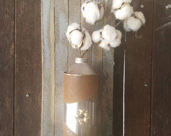 Tin Can Vase on Fused Wood Plaque with Cotton Boll Stem and Vintage Broach Accent
