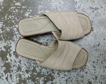 Beige Soft Leather Mules