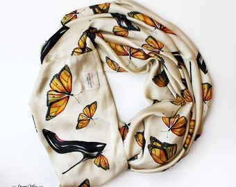 BUTTERFLIES AND SHOES - Silk scarf by LovelyBones Clothing