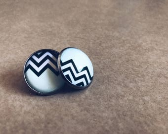 Earrings   Stud Earrings   Silver Earrings   Silver Stud Earrings   Gifts for Her   Chevron   Tiffany Blue