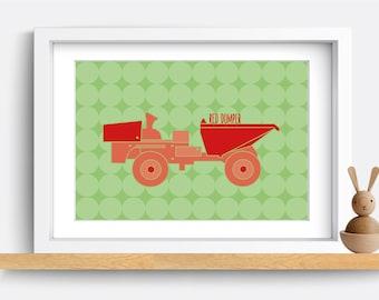 Kids nursery decor - Red Digger. Kids nursery wall art. Modern kids art. Kids wall decor. Kids wall prints. Baby wall decor