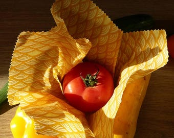 Zero waste. Reusable packaging eco-friendly beeswax, gift, bee's wrap bees wraps. Washable, eco-responsible alternative