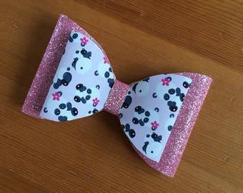 """5"""" Double layer panda glitter bow"""