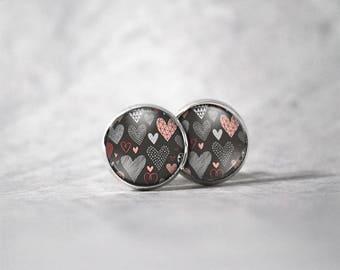 Earrings 12 mm cabochon / hearts