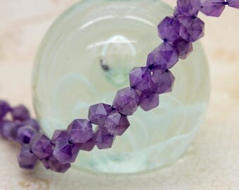 Amethyst Faceted Round Natural Gemstone Beads 7mm beads full strand
