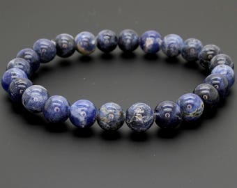 "Smooth Sodalite Beads Size 8mm. Length 8"" Semi-Precious Gemstone Elastic Cord Bracelet Accessories"