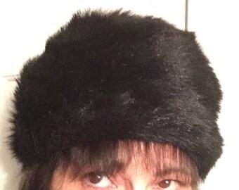 Vintage Black Faux Fur Hat