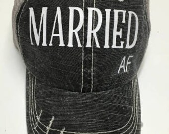 Married AF Hat, Mrs. Hat, Bride Hat, Wifey Hat, Groom Hat, Custom  Hat, Tucker Hat, Personalized Hat, Baseball Cap, The Mad Hatters Co