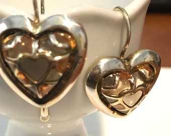 Heart Shaped Pierced Earrings Amber Colored Design - Vintage
