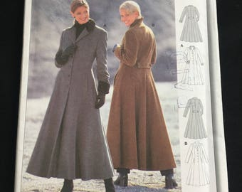 Vintage Retro Sewing Pattern 1990s Long Fitted A-Line Coat