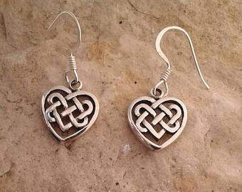 Celtic Earrings, Solid Sterling Silver Celtic Weave Heart Dangle Earrings, Celtic Jewelry