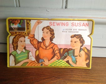 Vintage card sewing needle case sewing Susan 1960s
