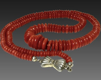 natural Deep red coral beads coral necklace