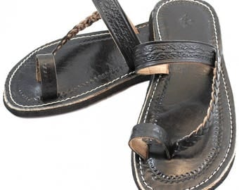 Marrakech flip-flops out of Black leather