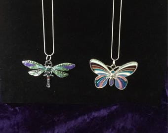 Butterfly and Dragonfly Resin pendant/ necklace /multi colour / silver plated /