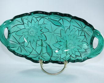 Indiana Lily Pons Teal Pickle Dish No 305