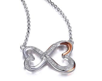 Sterling Silver infinity Heart 925 rose gold/ sterling silver cz necklace