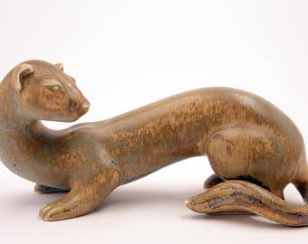 VINTAGE Modern Scandinavian stoneware Ferret by Gunnar Nylund Mid-Century for Rostrand Sweden, signed