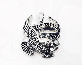 Eagle Pendant, Stainless Eagle, Live to Ride, Stainless Steel, Mens Pendant, 33mm x 41mm, STA035