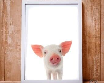 Pig Print, Piggy print, Farm Animal Print, Kids Room Print, Pig Photo, Nursery Decor, Modern Farmhouse, Pig Poster