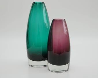 Set of 2 Vintage Mid-century Finland Art Glass Vase by Tamara Aladin - Turquoise & Purple
