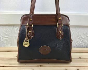 Dooney & Bourke Pebbled Leather Brown Shoulder Bag Zip Top Tote Bag