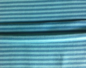 Blue/petrol striped jersey fabric, blue striped cotton lycra jersey fabric, blue/petrol striped jersey knit fabric, 4 way stretch cotton