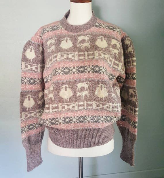 Vintage 80s Fall River Knitting Mills Lamb Princess sweater. Vintage 80s puff sleeve sweater size Large pink purple sweater