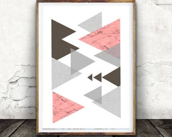 Geometric Print, Scandinavian Mid Century Art, Scandi Poster, Printable Art, Modern Minimalist, Grey Scandinavian Decor, Geometric Art