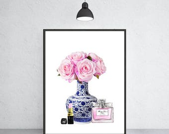 blue and white vase with peony Chanel lipstick Miss Dior art print Ming vase chinoiserie ginger jar art indigo blue porcelain Ming Dynasty