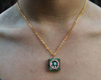 Recycled PCB Circuit Board Copper Ring Necklace