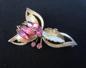 Vintage Pink Rhinestone Floral Brooch in Gold Tone