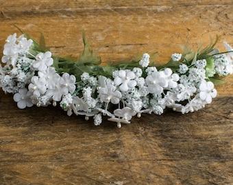 White gypsophila headband, beautiful, fabric flowers, headband, corsage, hand made, Prom, wedding, Hair, evening, satin luxury haute couture