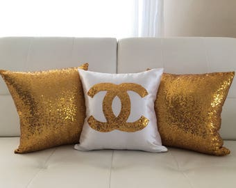 Set Of 3 Pillows , Chanel Pillow,Throw Pillow Cover, Sequins Pillow, Girls Room, Silver Gold Black White Sequin Pillow Cover, For Her